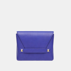 Starlet Studded Italian Leather Clutch In Cobalt Blue