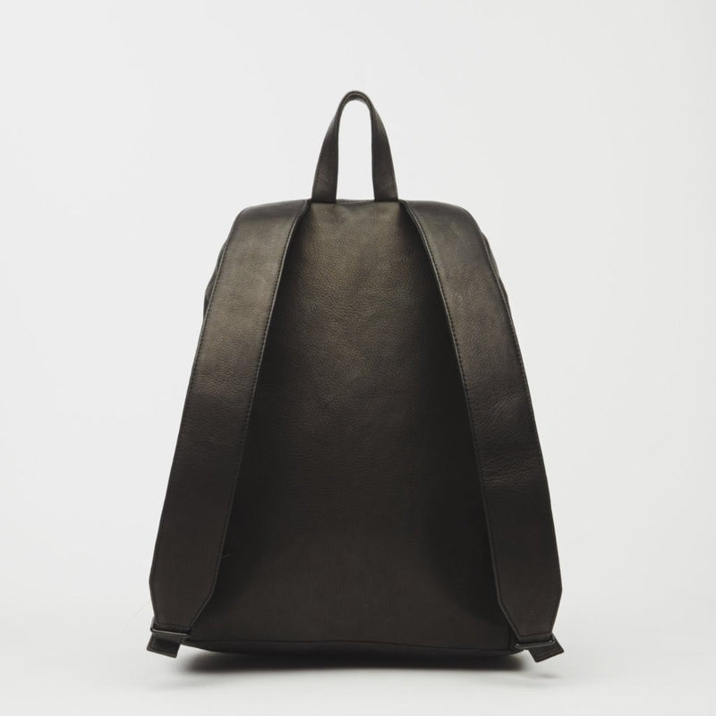 Cargo Italian Leather Backpack In Black - Backpack