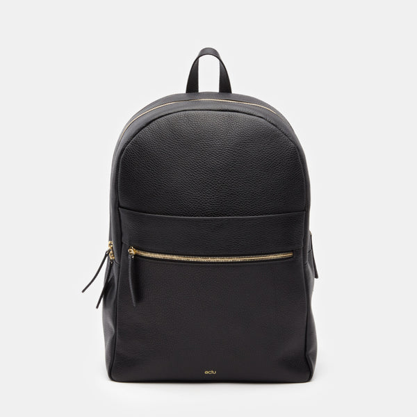 ectu.black.italian.leather.travel.back.pack.gold.zipper