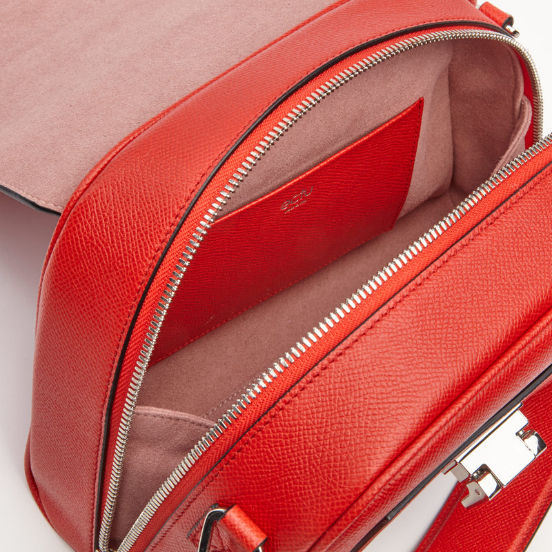 Mini Palermo Italian Leather Crossbody in Cranberry
