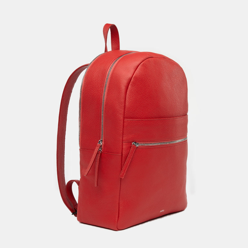 Brooklyn Italian Leather Backpack in Cranberry