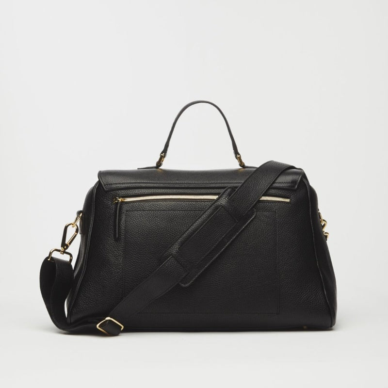 Palermo Italian Leather Weekender In Black