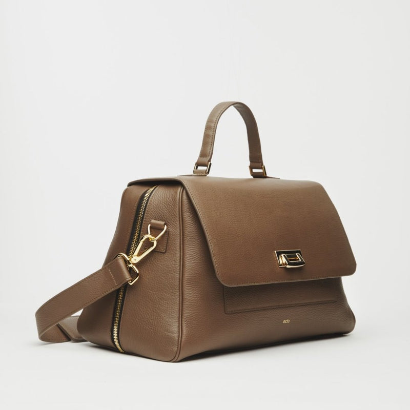 Palermo Italian Leather Weekender In Truffle