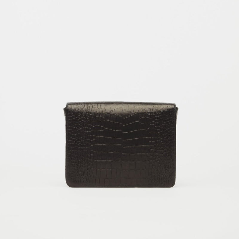 Starlet Black Croc Italian Leather Clutch