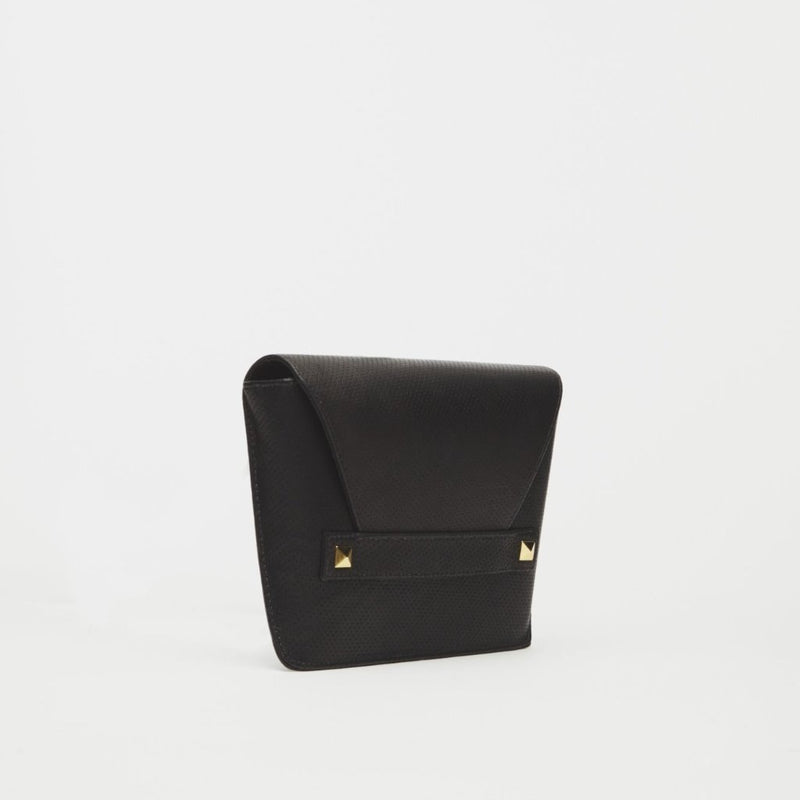 Starlet Black Italian Leather Clutch