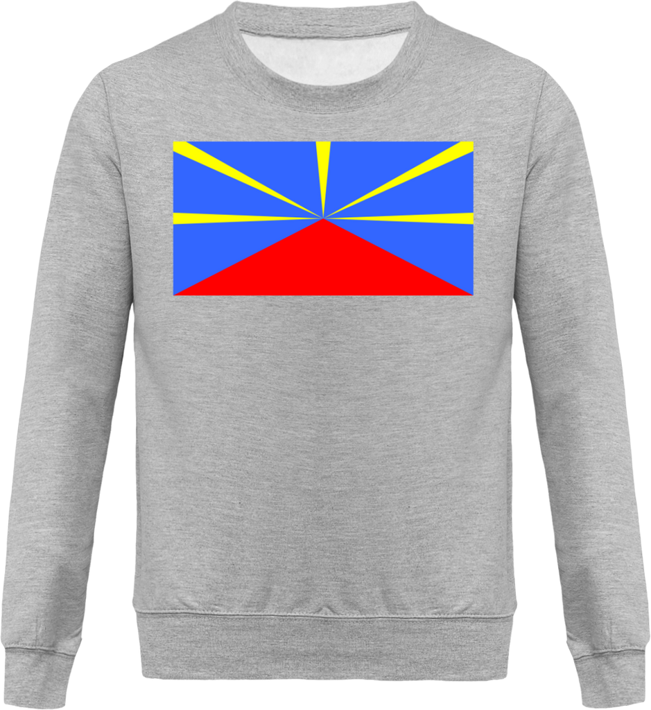 Sweat Mixte Col rond - Drapeau Ile de la Reunion