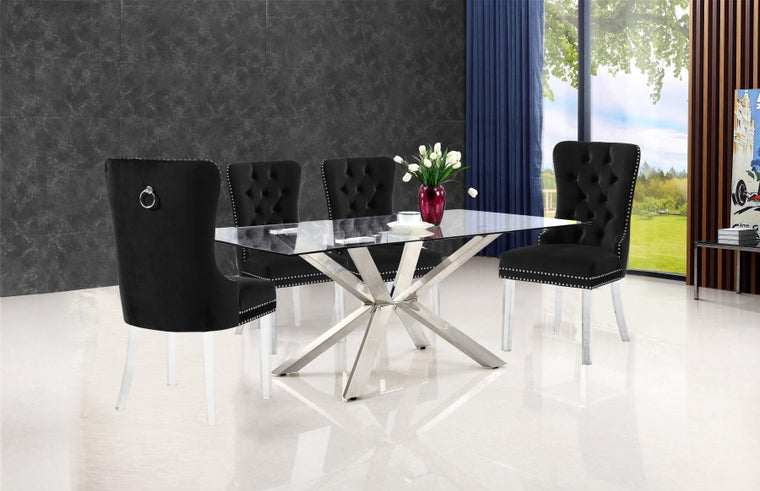 RLD Velvet Dining Chair with Acrylic Legs