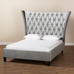 Wingback Velvet Bed