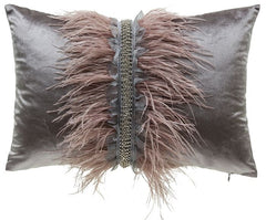 Ava Ostrich Feather Rectangle Decorative Pillow