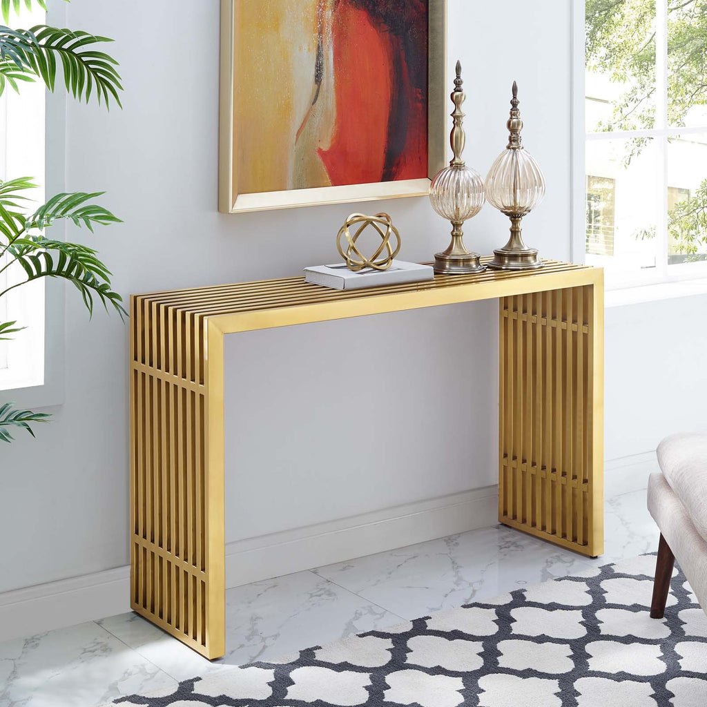 Gold Stainless Steal Console Table