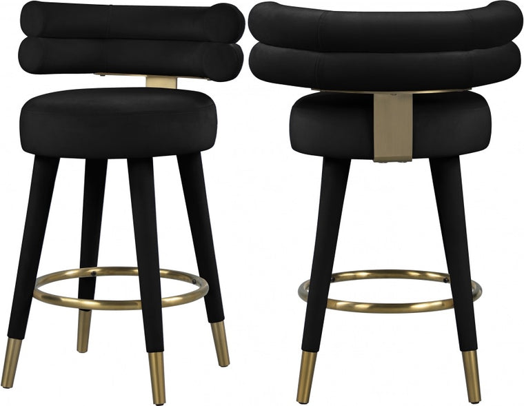 Noodle Velvet Counter Stool (2)