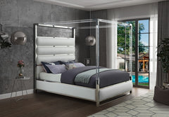 Faux Leather Canopy Bed