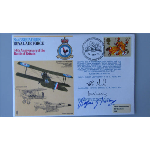 No. 43 Squadron Cover - Signed by Nash, Terry & Lord Balfour of Inchrye 14/09/74 - uk-cover-lover