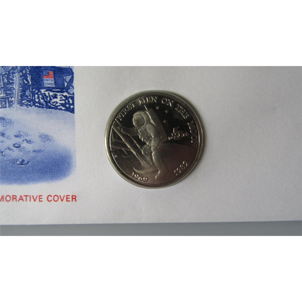 1989 - Moonlanding - First Man On The Moon Marshall Islands $5 Coin Cover - uk-cover-lover
