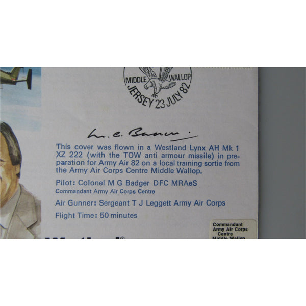 RAF TP24 Roy Moxam Cover - Signed 'Colonel M G Badger' Army Air 82 23/07/82 - uk-cover-lover
