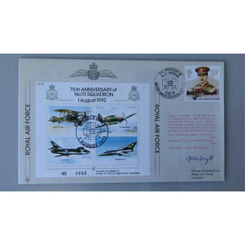 JSF 16 75th Anniversary of 111 Squadron Signed by Squadron Leader Maurice Smyth - uk-cover-lover