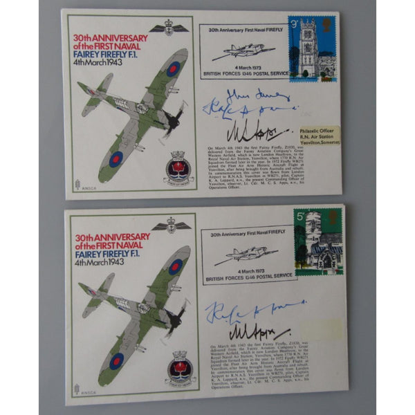 RNSC 6 - 30th Anniv. First Naval Fairey Firefly Signed Apps, Leppard & Another - uk-cover-lover