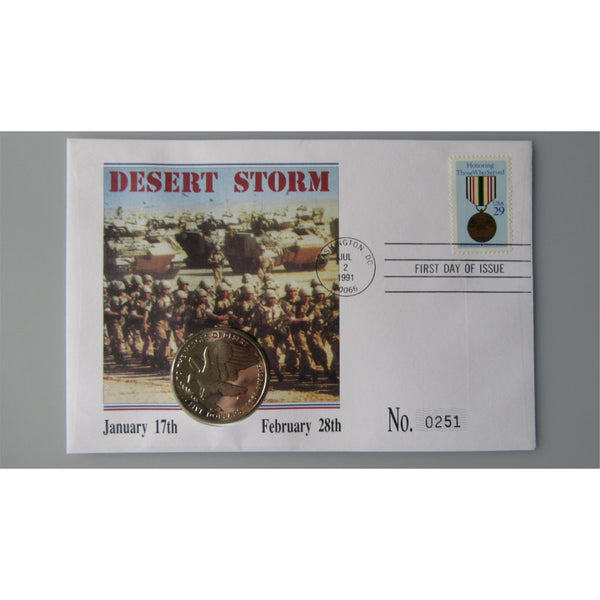 1991 - To The Heroes Of Desert Storm - Marshall Island $5 Coin Cover - uk-cover-lover