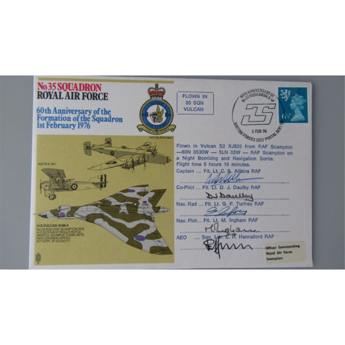 No. 35 Squadron 60th Anniversary Formation Squadron Multi Signed & Flown Cover - uk-cover-lover