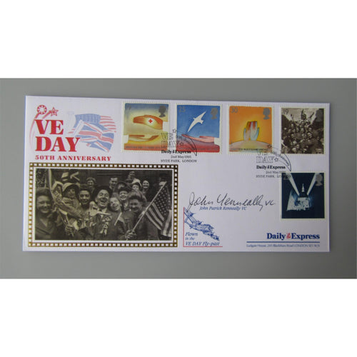 1995 VE Day 50th Anniversary - John Patrick Kenneally Signed & Flown Cover - uk-cover-lover