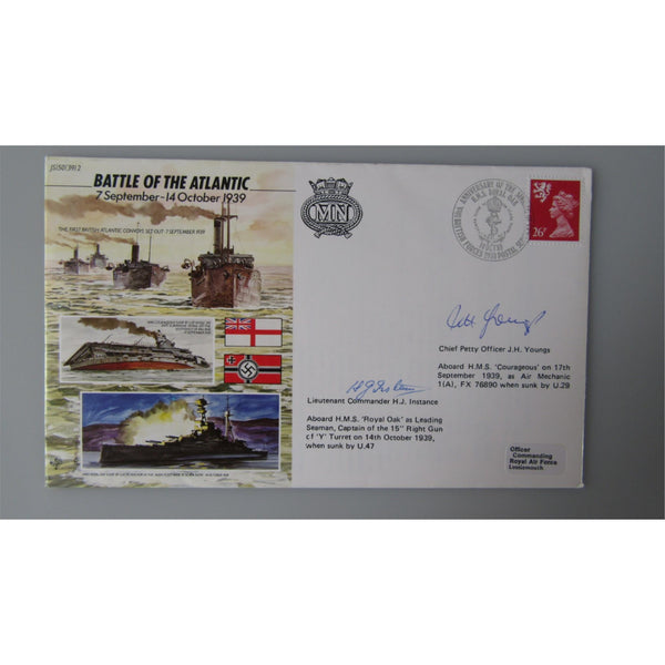 JS/50/39/2 Battle Of The Atlantic - H. J. Instance & J. H. Youngs Signed Cover - uk-cover-lover