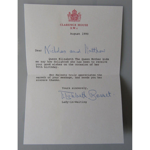 Thank You Letter From The Queen Mother Signed Elizabeth Basset (Lady In Waiting) - uk-cover-lover