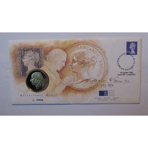 "G.B Royal Mint Coin Cover ""William Wyon"" Bicentenary Medal Cover 29/10/95 - uk-cover-lover"