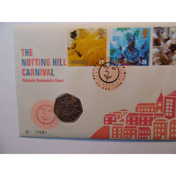1998 G.B 50p Coin Cover - The Notting Hill Carnival