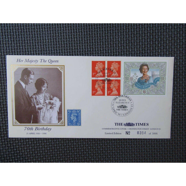 1996 The Times Commemorative Label Cover - Queens 70th Birthday - Ltd Edt - uk-cover-lover