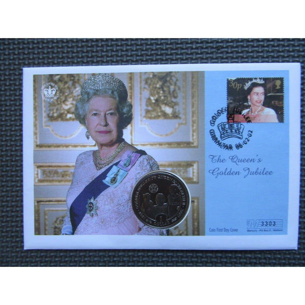 Gibraltar and SIerra Leone - The Queen's Golden Jubilee $1 Coin Cover - 06/02/02 - uk-cover-lover
