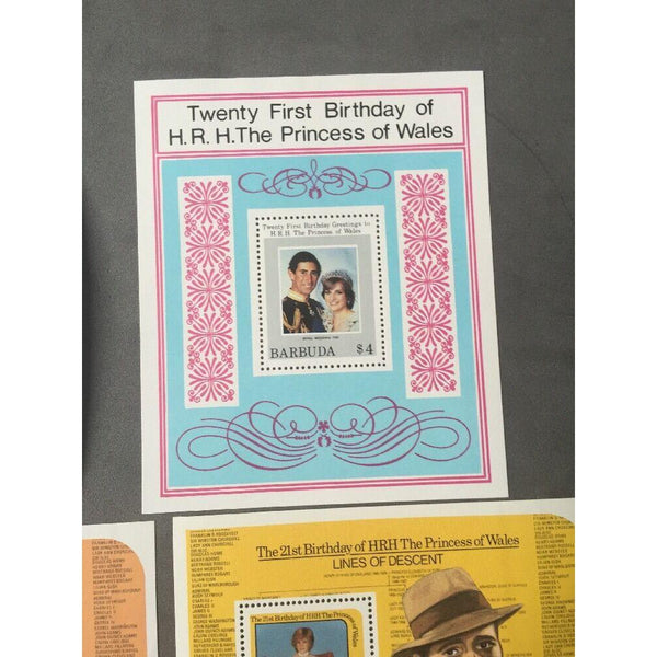 21st Birthday Of The Princess Of Wales 7 Mini Sheets MNH (see pics) - uk-cover-lover