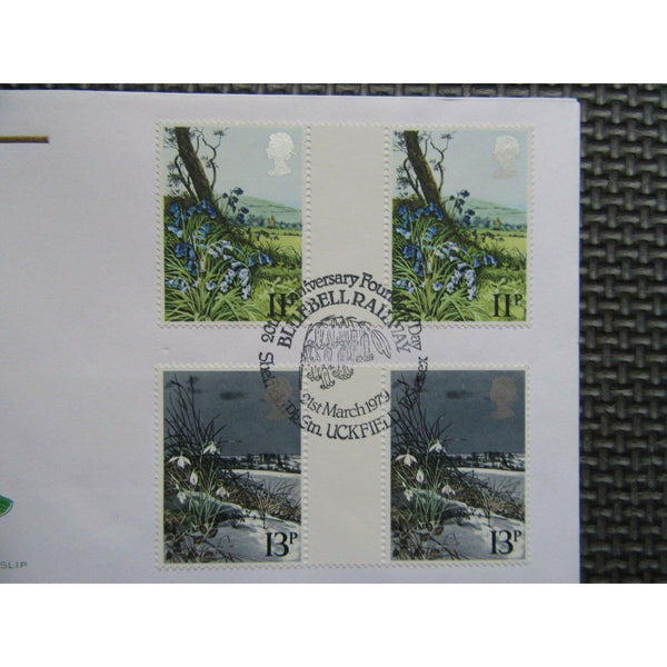 "G.B FDC ""British Flowers"" PM ""Founders Day, Bluebell Railway, Uckfield"" 21/03/79 - uk-cover-lover"