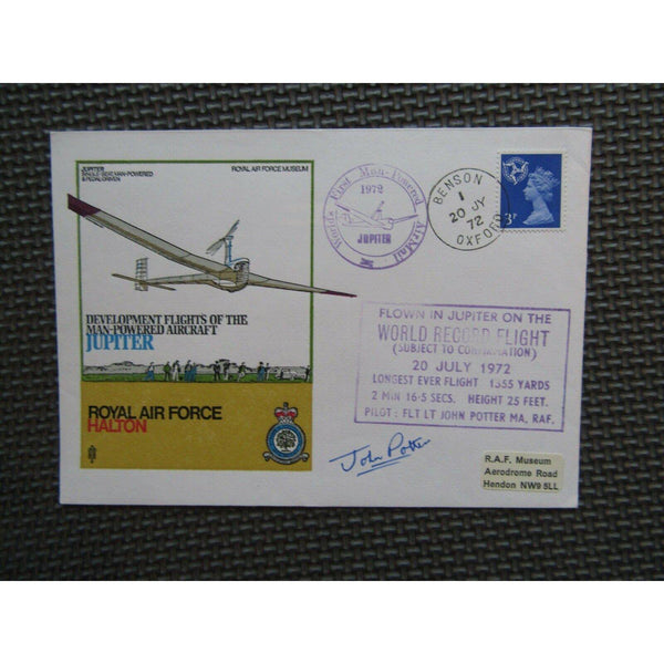 'Jupiter Development Flights' Signed 'John Potter' PM 'World Record Flight' 1972 - uk-cover-lover