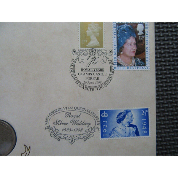 Benham One Florin Coin Cover - H.M. The Queen Mother 75 Royal Years - 26/04/98 - uk-cover-lover