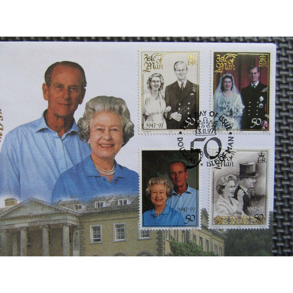 "Isle Of Man ""Golden Wedding Anniversary"" 1 Crown Coin Cover 03/11/97 - uk-cover-lover"