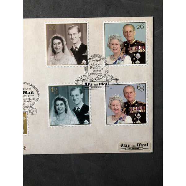 G.B Benham FDC Royal Golden Wedding PM 'The Mail On Sunday, London W8' 13/11/97 - uk-cover-lover