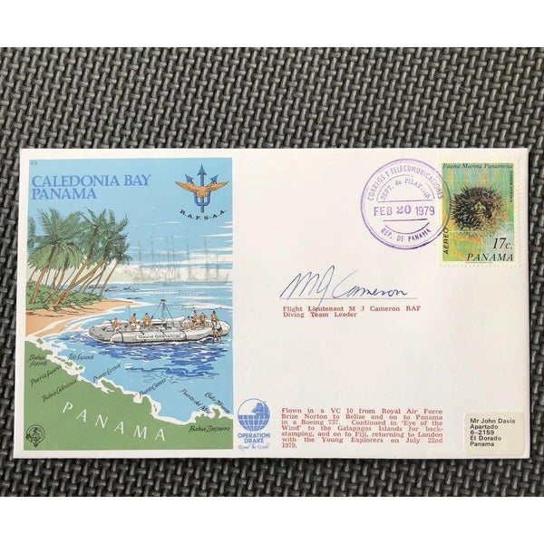 D3 Caledonia Bay, Panama, Operation Drake - M J Cameron Signed Cover 20/02/79 - uk-cover-lover