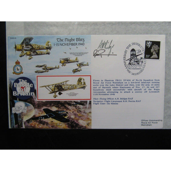 RAFA 18 'The Night Blitz' Cover - Signed 'A Bridger & R Perrins' 14/11/90 - uk-cover-lover