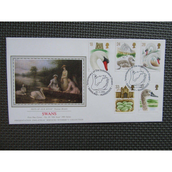 "G.B First Day Cover ""Swans"" PM ""Independent Chapel, Swanland"" 19/01/93 - uk-cover-lover"