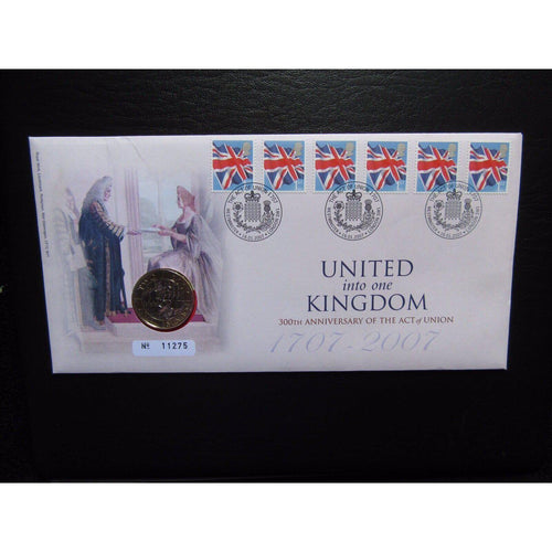 "G.B 2007 Coin Cover ""United Into One Kingdom"" Ltd Edition - uk-cover-lover"