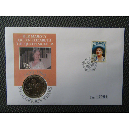 Her Majesty The Queen Mother Isle Of Man One Crown Coin Cover 04/08/90 - uk-cover-lover