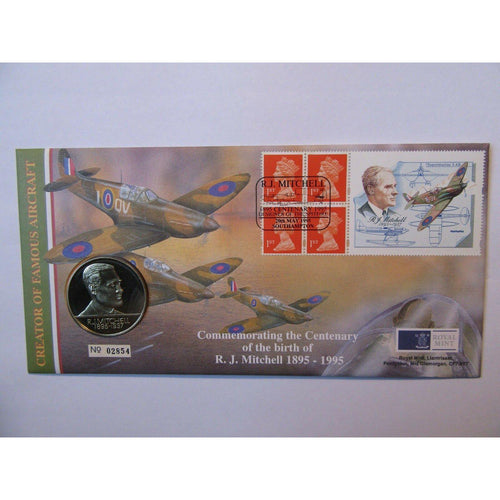 "G.B Coin Cover ""Centenary Of The Birth Of R. J. Mitchell"" 20/05/95 - uk-cover-lover"