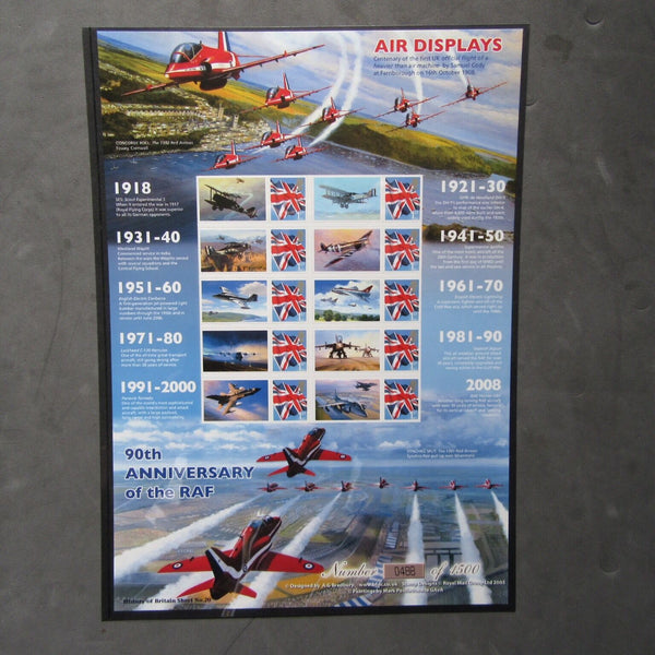 "History Of Britain No.20 ""Air Displays"" 90th Anniv. RAF Ltd Edition Smiler Sheet - uk-cover-lover"