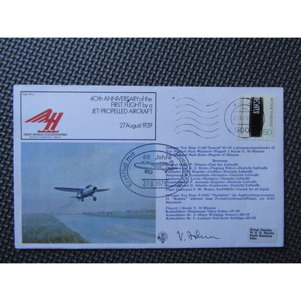 RAF FF11 40th Anniv. 1st Flight Jet Aircraft Signed 'Viktor Zohm' 27/08/79 - uk-cover-lover