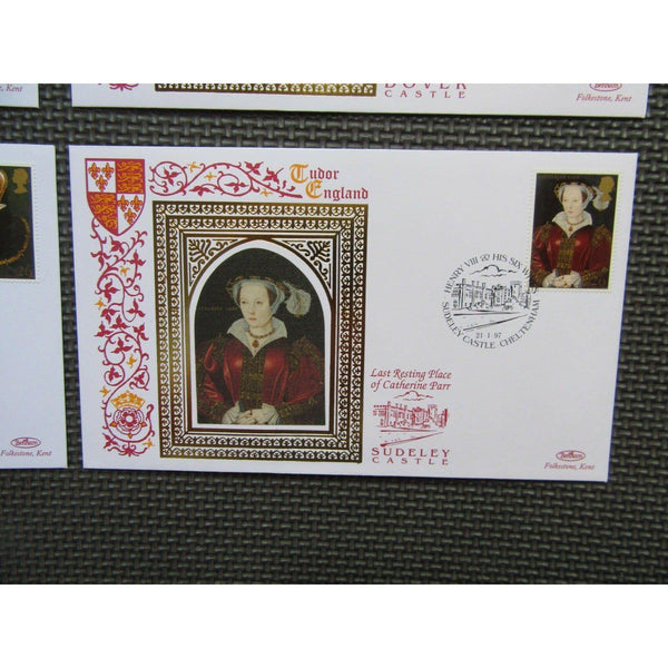 1997 - The Great Tudor / Henry VIII & His SIx Wives - Set of 7 Benham Silks - uk-cover-lover