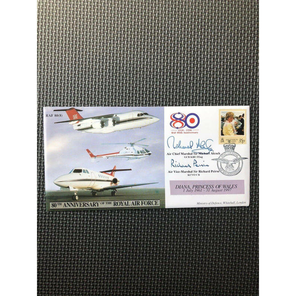 RAF 80(8) - 80th Anniversary RAF - Michale Alcock & Richard Peirse Signed Cover - uk-cover-lover