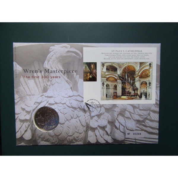"G.B 2008 Coin Cover ""Wren's Masterpiece, The First 300 Years"" Ltd Edition - uk-cover-lover"