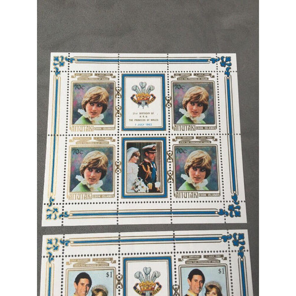 Aitutaki 1982 MNH 21st Birthday of Princess of Wales Sheetlets (sg 411/3) - uk-cover-lover