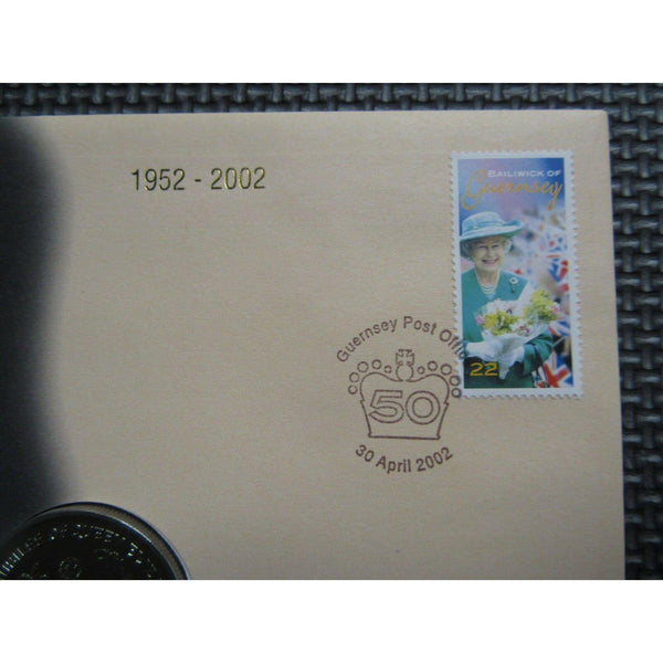 "Guernsey & British Virgin Islands ""Golden Wedding Anniv."" Coin Cover 30/04/02 - uk-cover-lover"