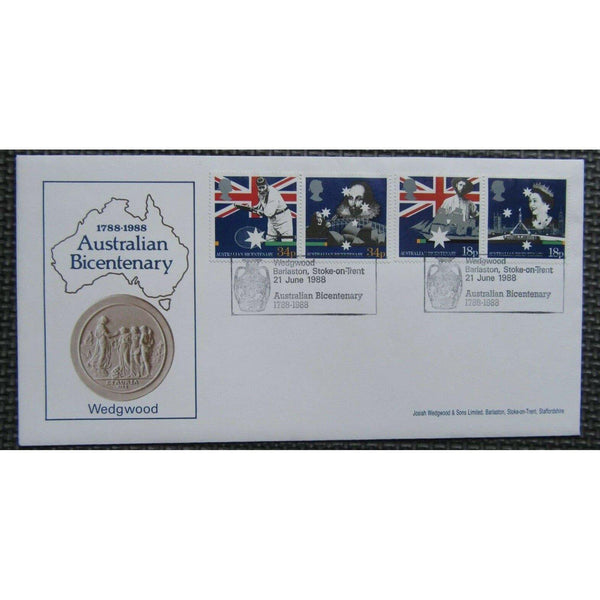 1988 Arlington Official FDC - Australian Bicentenary PM Wedgwood, Barlaston - uk-cover-lover